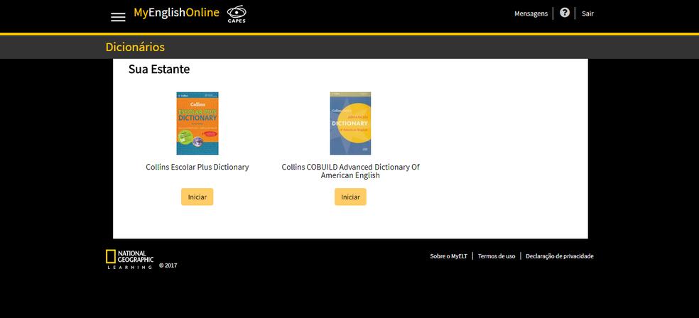 A opção Dicionários no site MyEnglishOnline possibilita consultar obras de referência para tirar dúvidas (Foto: Reprodução/Daniel Ribeiro)